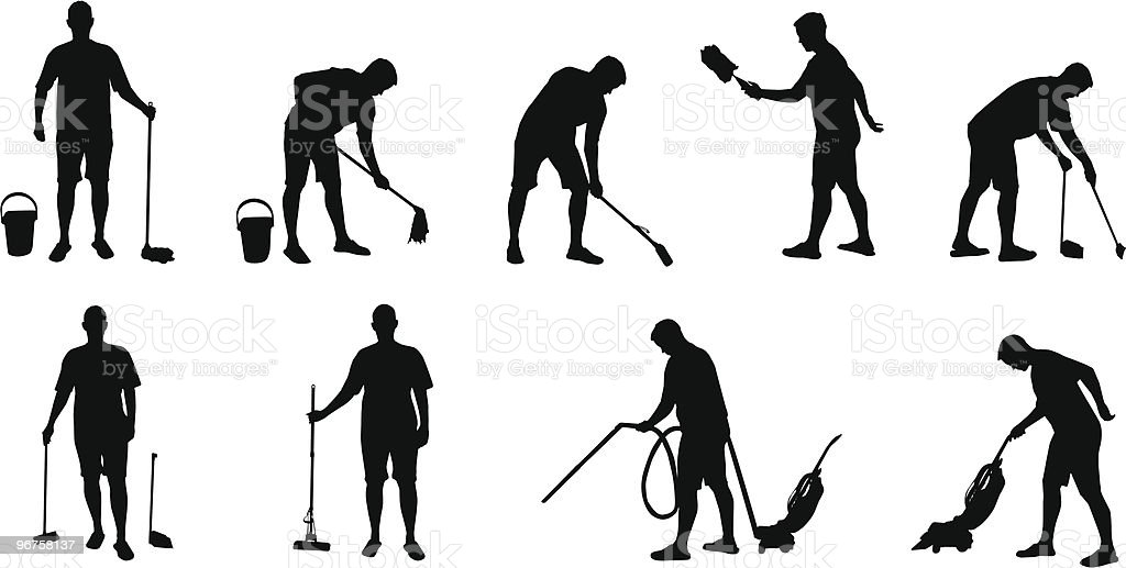 janitor silhouettes vector art illustration