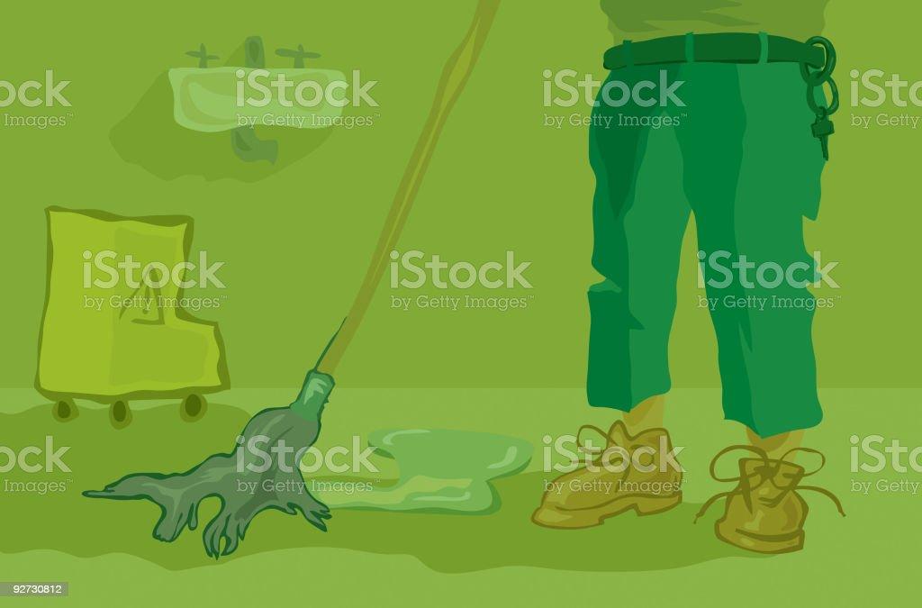 Janitor vector art illustration