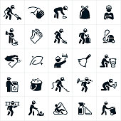 A set of janitorial icons. The icons show a janitor vacuuming, mopping, sweeping, painting, carrying a bag of trash, picking up trash, carpet cleaning, cleaning a toilet, fixing a leaky faucet, buffing the floor and pushing a garbage can. The set also includes a bag of trash, cleaning with a towel, rubber cleaning gloves, a vacuum, a duster, a can of cleaner and a bucket of soap suds to name just a few.