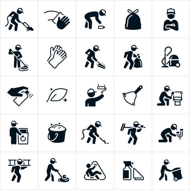 janitorial icons - hausmeister stock-grafiken, -clipart, -cartoons und -symbole