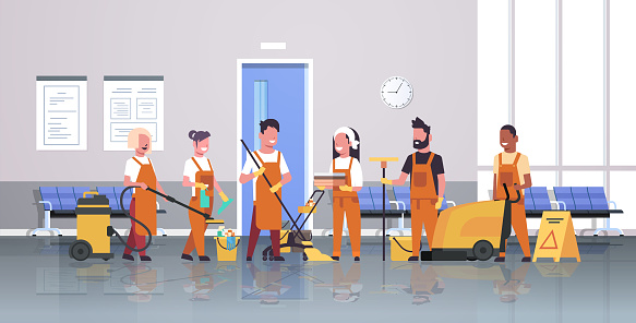 janitors team cleaning service concept male female cleaners in uniform working together with professional equipment modern corridor interior flat full length horizontal