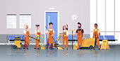 janitors team cleaning service concept male female cleaners in uniform working together with professional equipment modern corridor interior flat full length horizontal vector illustration