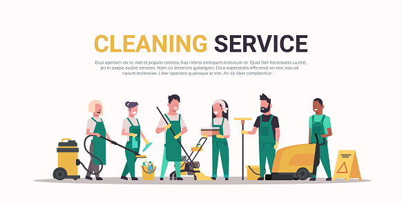 janitors team cleaning service concept male female mix race cleaners in uniform working together with professional equipment flat full length horizontal copy space