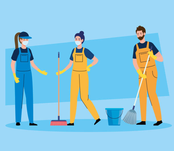 janitors team cleaning service, people cleaners wearing medical mask, in uniform working with professional equipment of cleaner vector art illustration