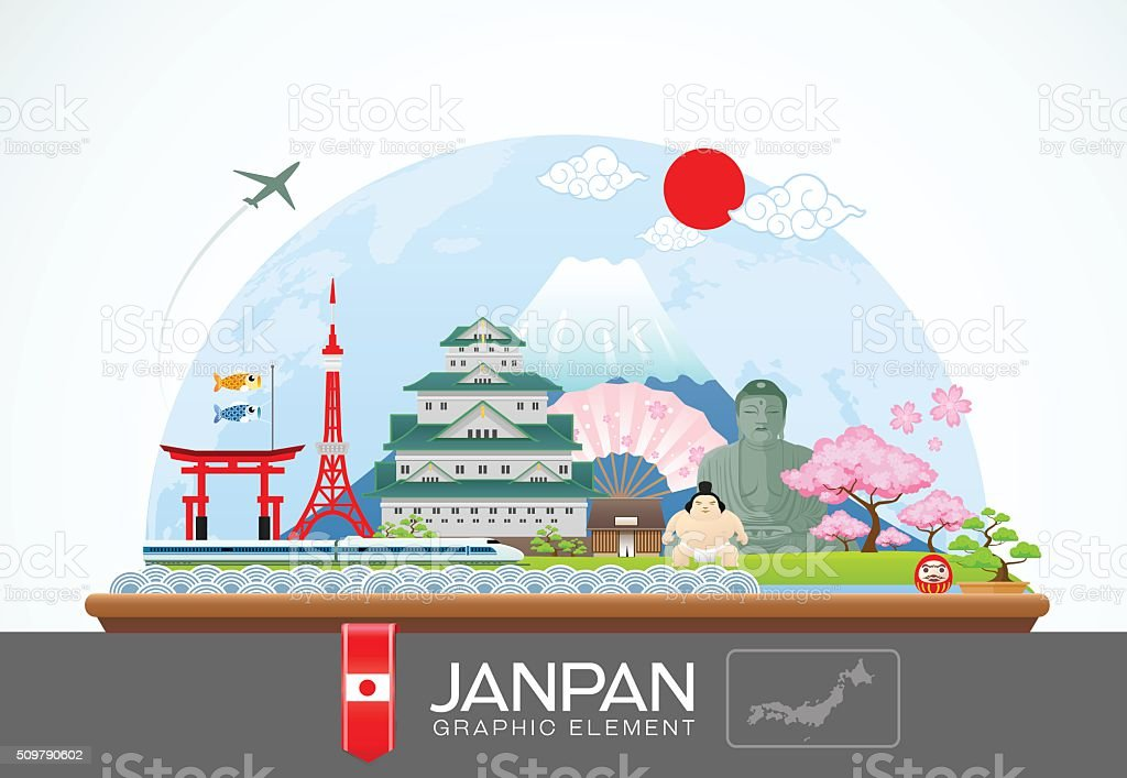janpan infographic travel place and landmarkVector Illustration vector art illustration