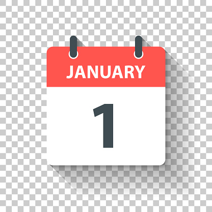 January 1 - Daily Calendar Icon in flat design style