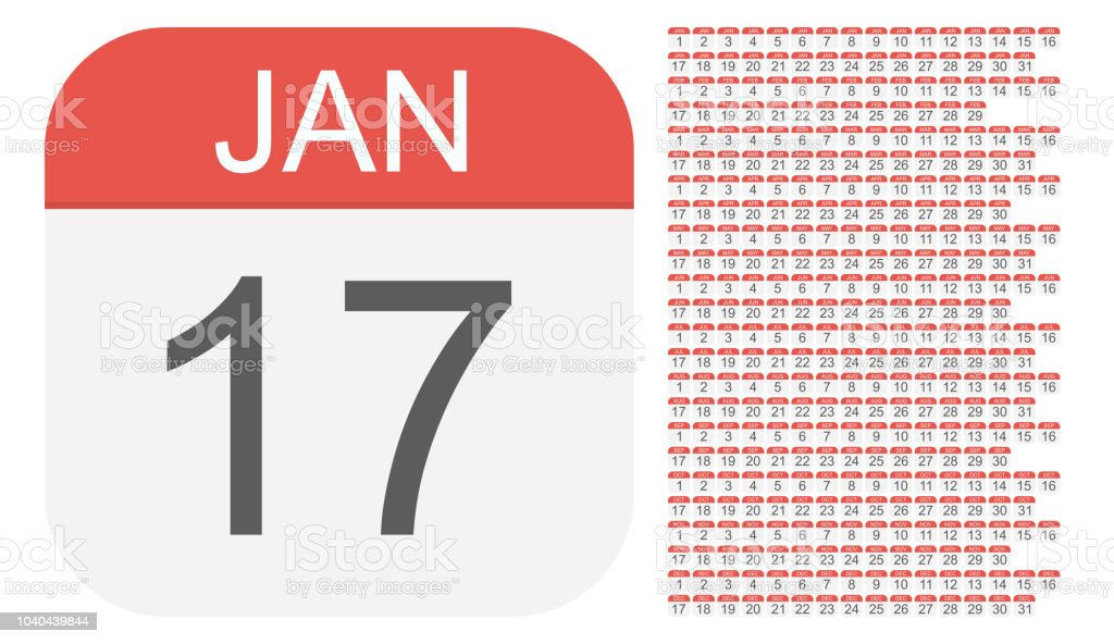 January 1 - December 31 - Calendar Icons. All days of year. vector art illustration