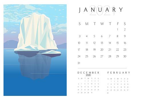 January 2012 Scenic Landscape Calendar pad with frozen iceberg