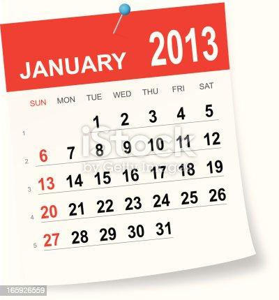 istock January 2013 calendar 165926559