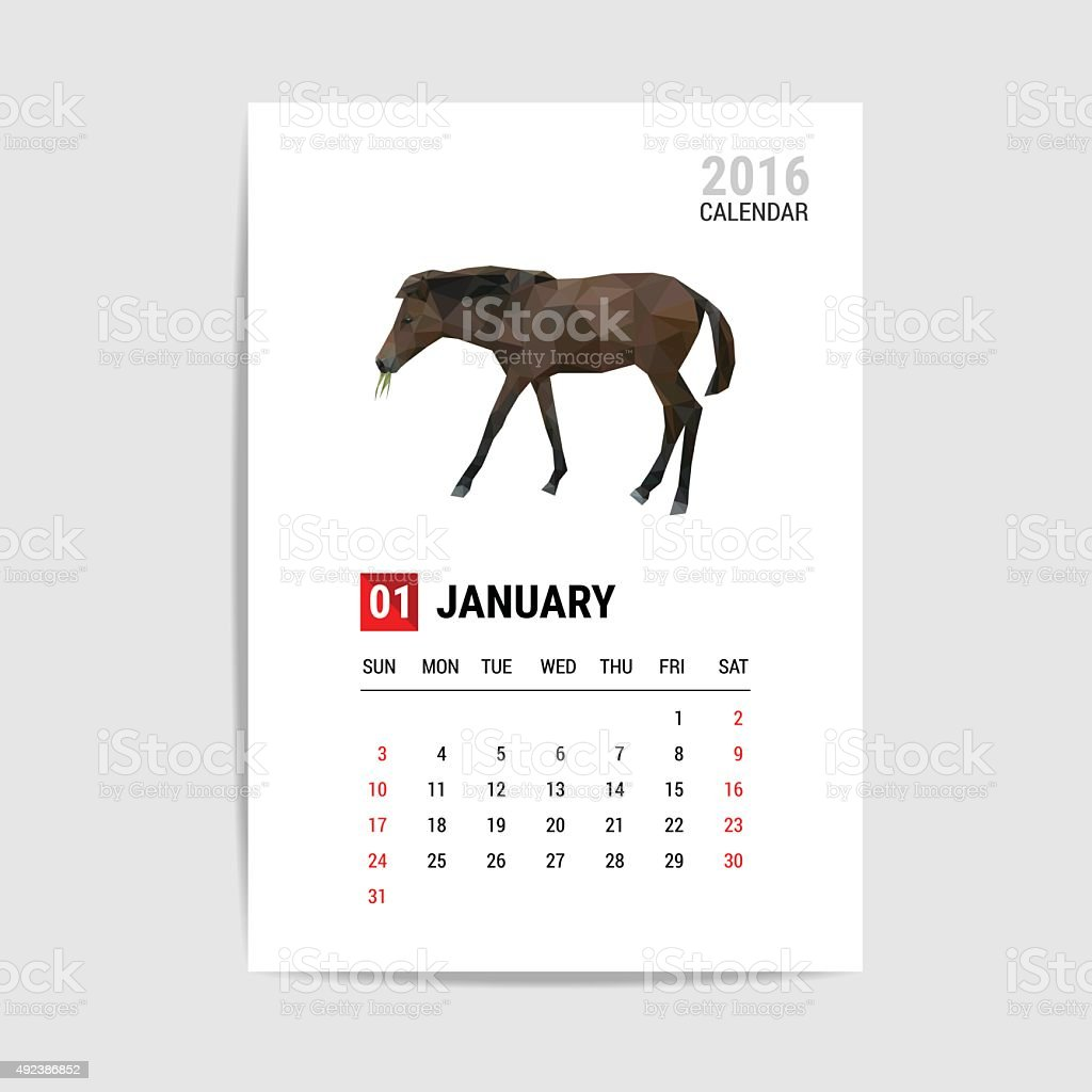 January 2016 calendar, horse polygon vector vector art illustration