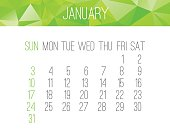 January 2016 vector monthly calendar. Week starting from Sunday. Contemporary low poly design in bright green color.