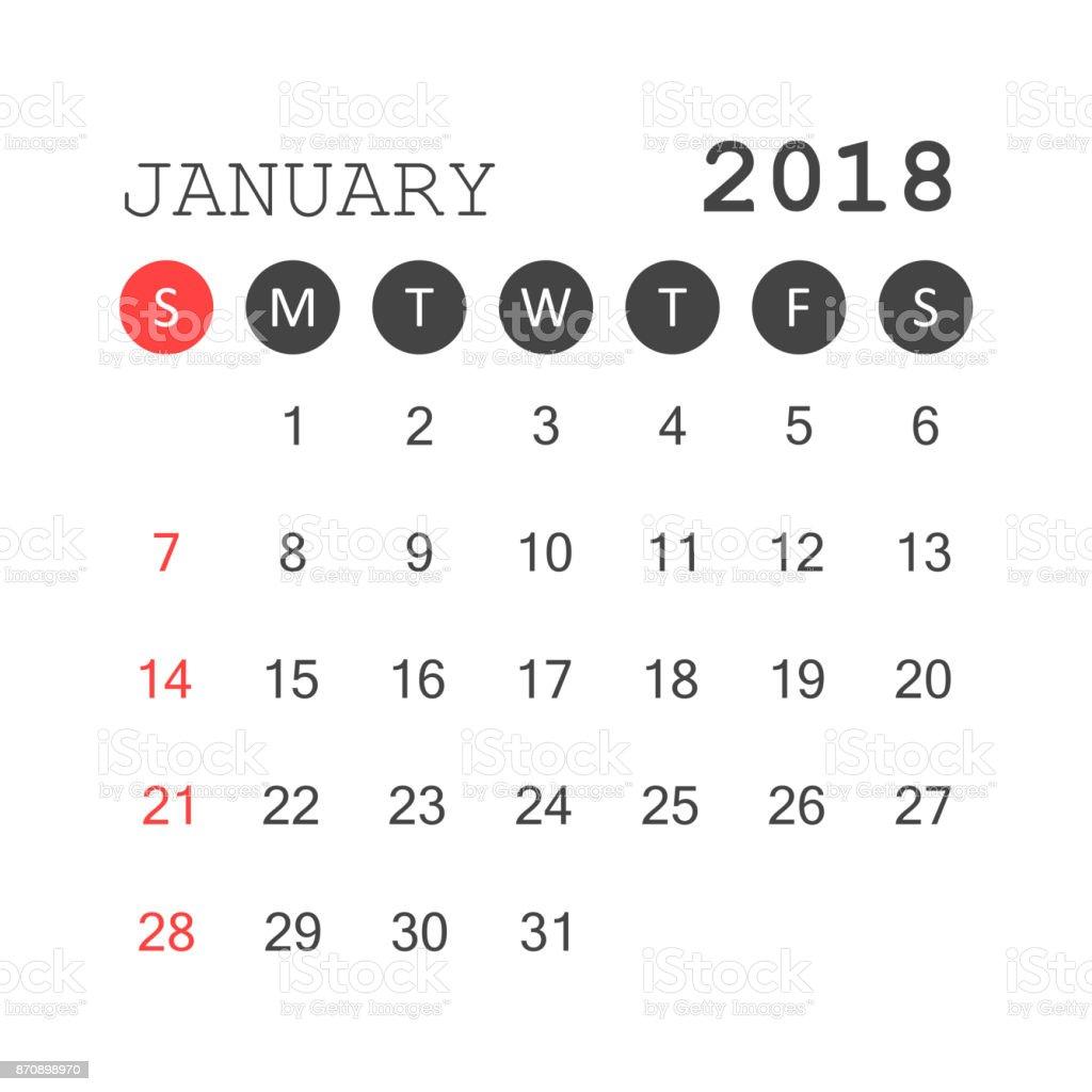 Kalender Januar 2018 Kalender Planer Entwurfsvorlage Woche Beginnt ...