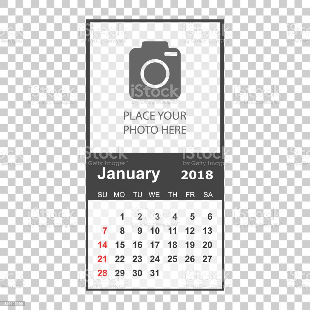 january 2018 calendar calendar planner design template with place for photo week starts on