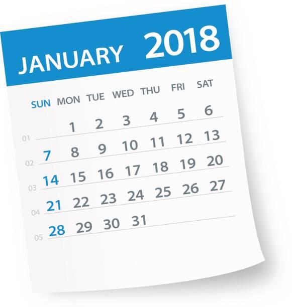 january 2018 calendar leaf illustration vector art illustration