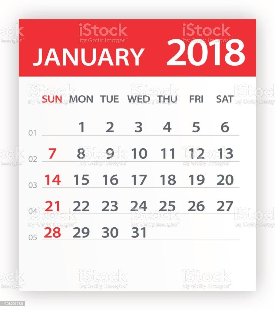 18年 1 月カレンダー葉 イラスト 18年のベクターアート素材や画像を多数ご用意 Istock