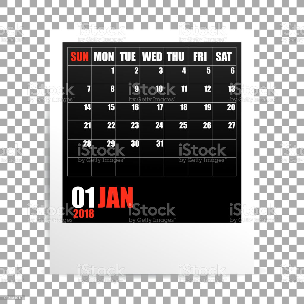 january 2018 calendar photo frame on transparent background royalty free january 2018 calendar photo frame