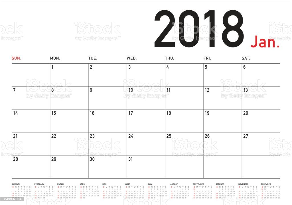Calendar Planner Vector : January calendar planner vector illustration stock