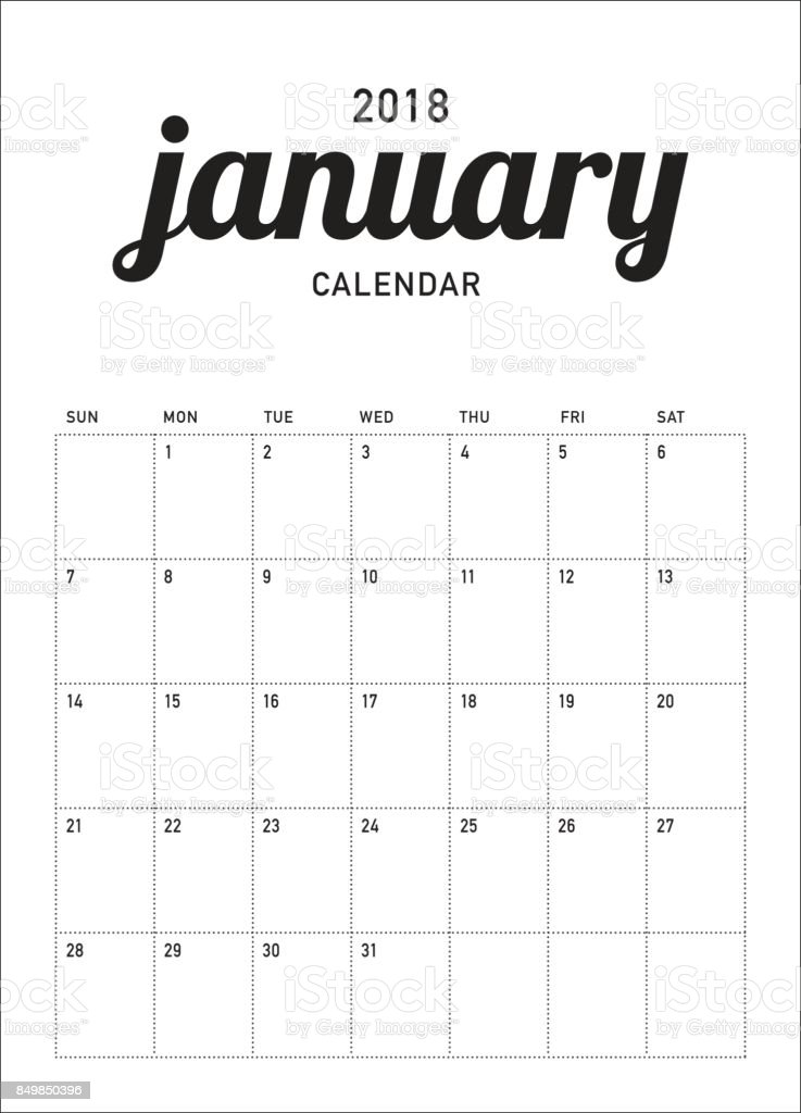 January 2018 Calendar Planner Vector Illustration Royalty Free Stock