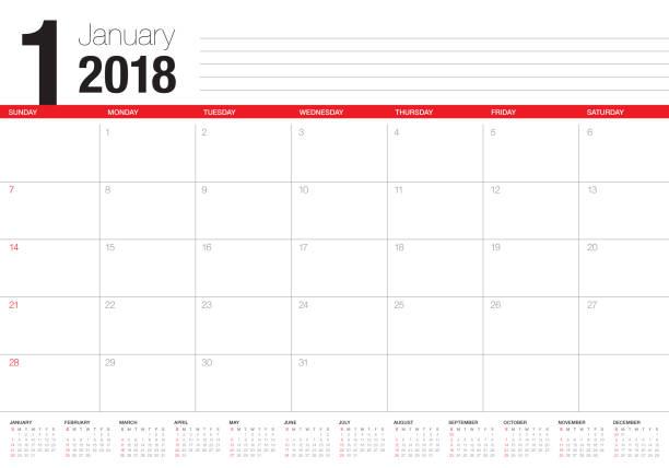 january 2018 calendar planner vector illustration vector art illustration
