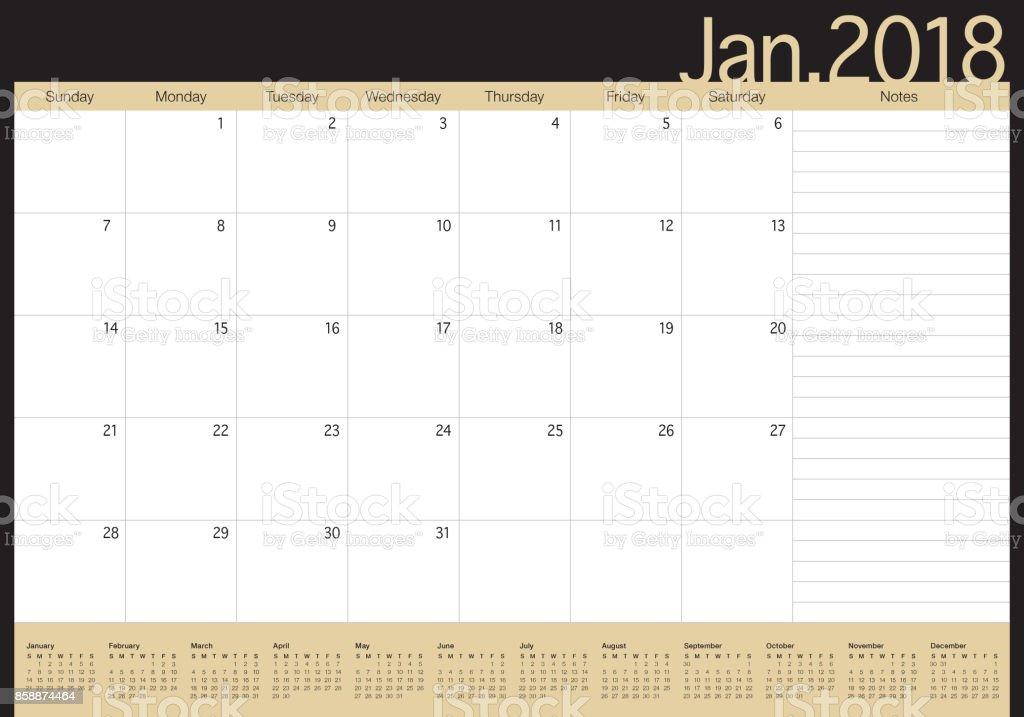 January Calendar Planner : January calendar planner vector illustration stock