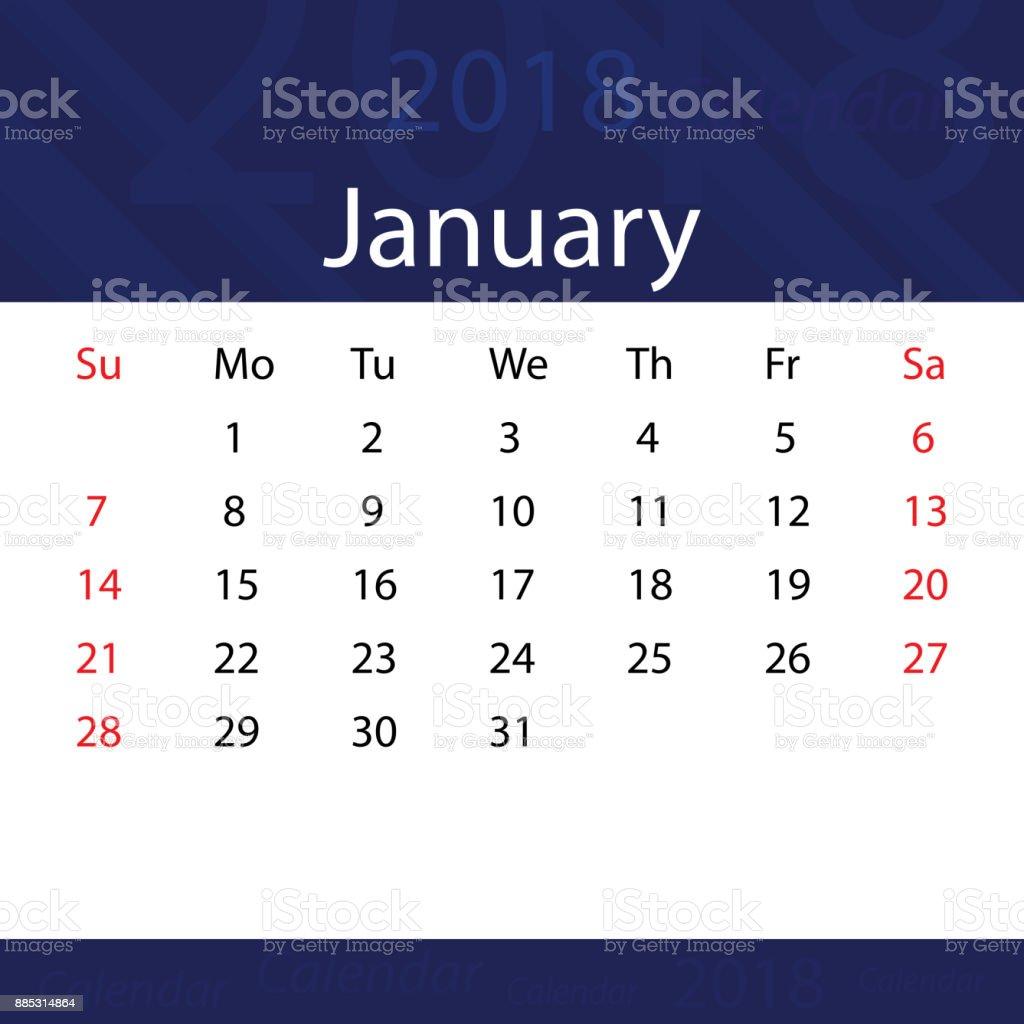 january 2018 calendar popular blue premium for business royalty free january 2018 calendar popular blue