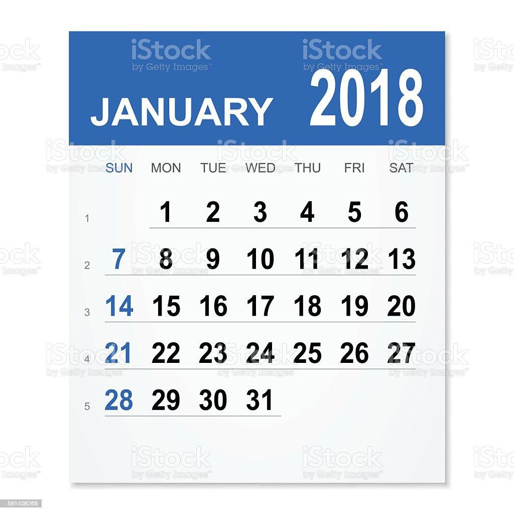 january 2018 calendar royalty free january 2018 calendar stock vector art more images