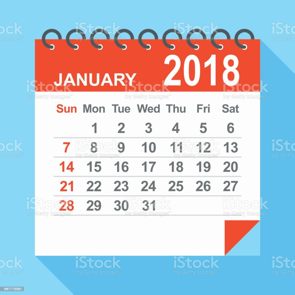 January 2018 Calendar Stock Vector Art & More Images of 2018
