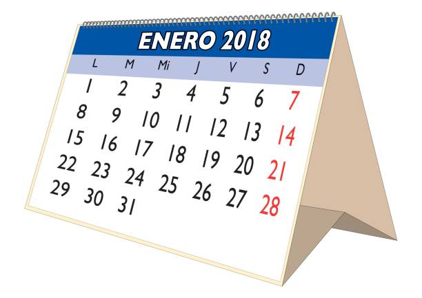january 2018 desk calendar in spanish enero 2018 stock vector art more images of 2018 855345482 istock
