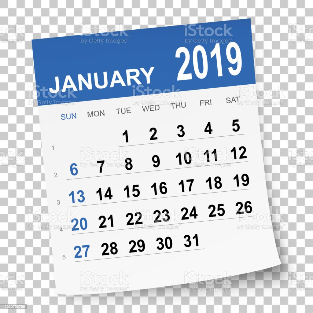 January 2019: January 2019 Calendar Stock Vector Art & More Images Of