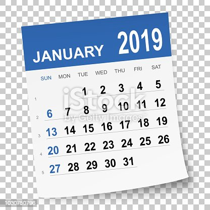 January 2019 calendar isolated on a blank background. Need another version, another month, another year... Check my portfolio. Vector Illustration (EPS10, well layered and grouped). Easy to edit, manipulate, resize or colorize. Please do not hesitate to contact me if you have any questions, or need to customise the illustration. http://www.istockphoto.com/portfolio/bgblue