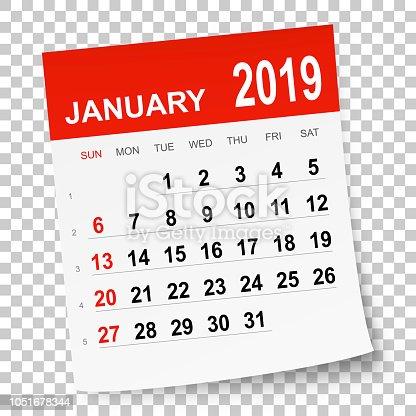 kalender januar 2019 stock vektor art und mehr bilder von. Black Bedroom Furniture Sets. Home Design Ideas
