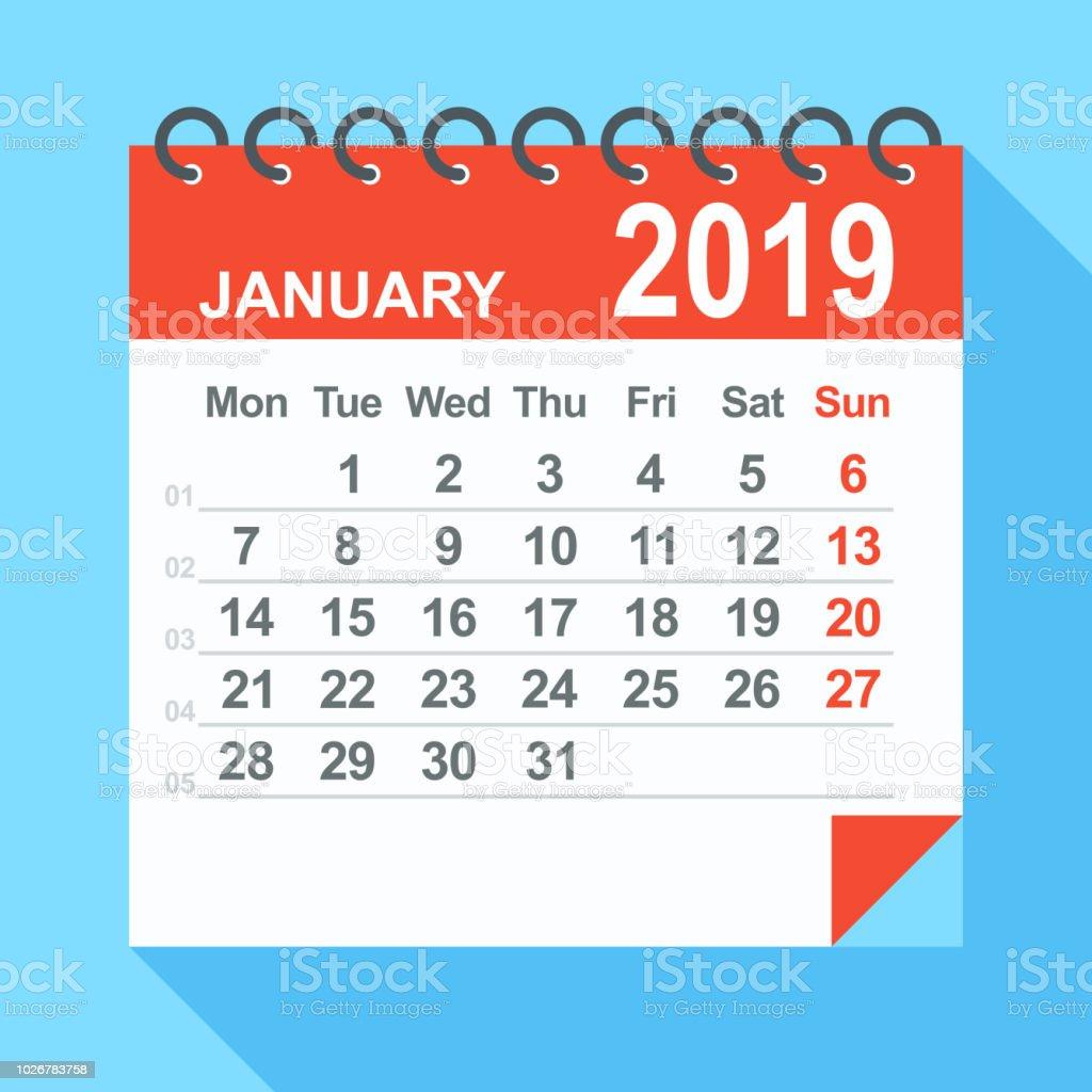 January 2019 Calendar Week Starts From Monday Stock Vector Art