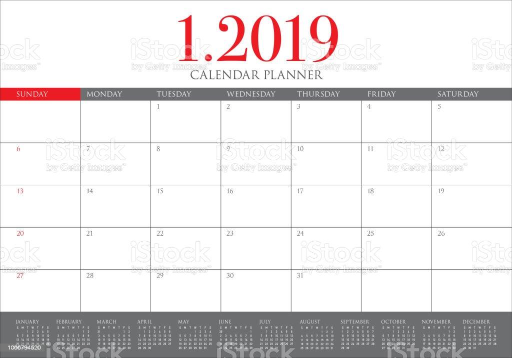 January 2019 Desk Calendar Vector Illustration Stock Vector Art