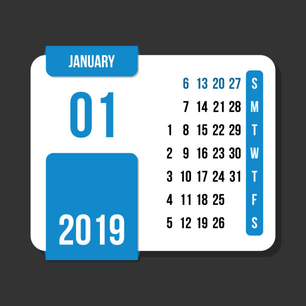 january 2019 month vector calendar - save the date calendar stock illustrations, clip art, cartoons, & icons