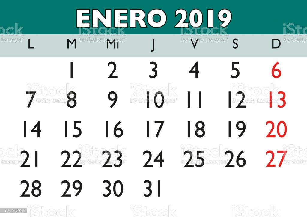 Januar 2019 Wand Kalender Spanisch Stock Vektor Art Und Mehr Bilder