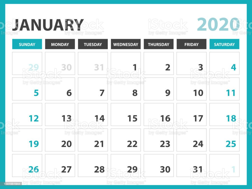 2020 Desk Calendar.January 2020 Calendar Template Desk Calendar Layout Size 8 X 6 Inch Planner Design Week Starts On Sunday Stationery Design Vector Eps10 Stock