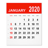January 2020 calendar isolated on a white background. Need another version, another month, another year... Check my portfolio. Vector Illustration (EPS10, well layered and grouped). Easy to edit, manipulate, resize or colorize.
