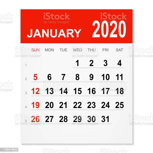 Januari 2020 Kalender-vektorgrafik och fler bilder på 2020