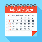 January 2020 - Calendar. Week starts from Sunday