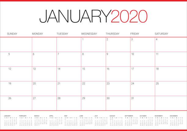 January 2020 desk calendar vector illustration January 2020 desk calendar vector illustration, simple and clean design.
