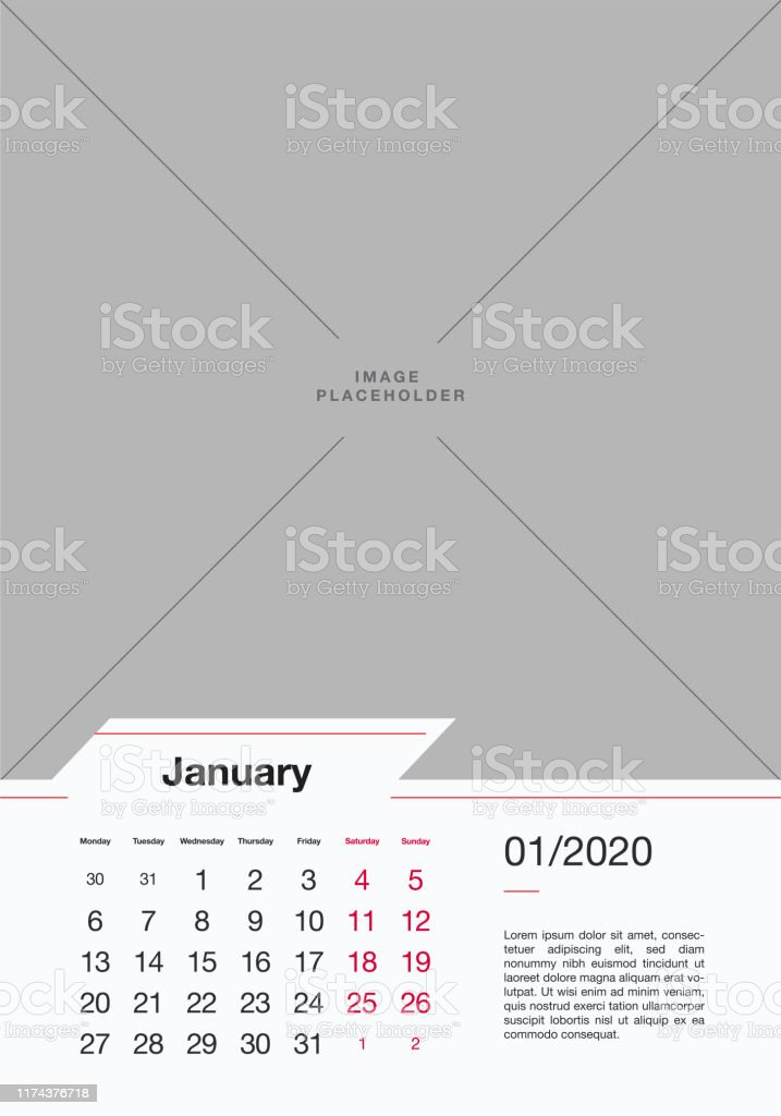 Events Usa January 2020.January 2020 Wall Calendar Design Template Stock