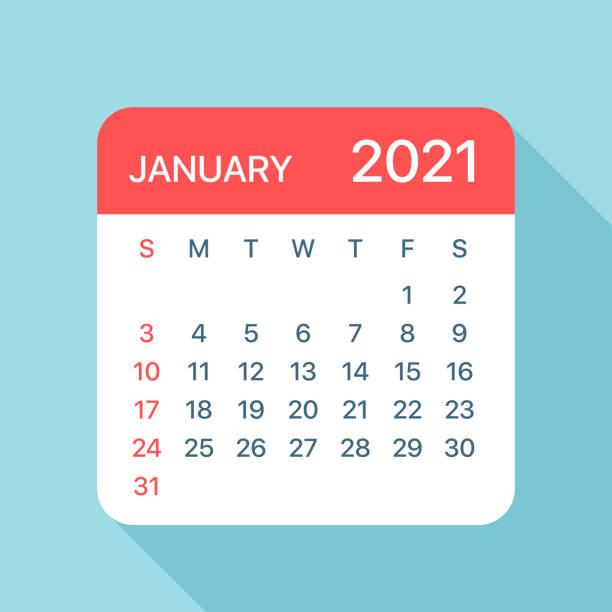 bildbanksillustrationer, clip art samt tecknat material och ikoner med kalenderblad i januari 2021 - vektorillustration - januari
