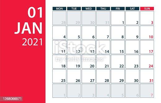 istock January 2021 Calendar Planner - vector illustration. Template. Mock up. 1268066571