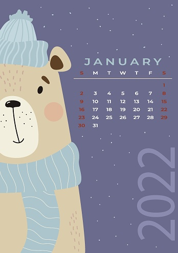January 2022 calendar. Cute winter bear in a hat and scarf on a bright background. Vector illustration in flat style. Vertical Template. Week from Sunday In English. Stationery for design and printing.