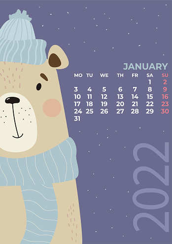 January 2022 calendar. Cute winter bear in a hat and scarf on bright background. Vector illustration in a flat style. Vertical Template. Week from Monday In English. Stationery for design and printing