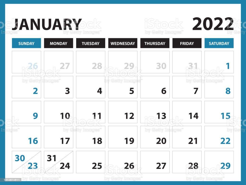 January 2022 Calendar Printable Calendar 2022 Planner Design Desk Calendar Template Wall Calendar Organizer Office Simple Calendar Week Starts On Sunday Modern Calendar Design Vector Eps 10 Stock Illustration Download Image Now Istock