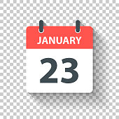 January 23. Calendar Icon with long shadow in a Flat Design style. Daily calendar isolated on blank background for your own design. Vector Illustration (EPS10, well layered and grouped). Easy to edit, manipulate, resize or colorize.