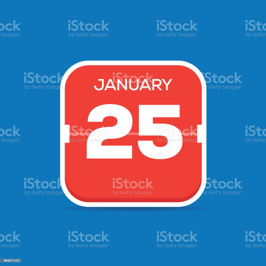 January 25 Calendar Flat Icon royalty-free january 25 calendar flat icon stock vector art & more images of art