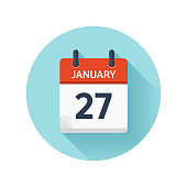 January 27. Vector flat daily calendar icon. Date and time, day, month 2018. Holiday. Season