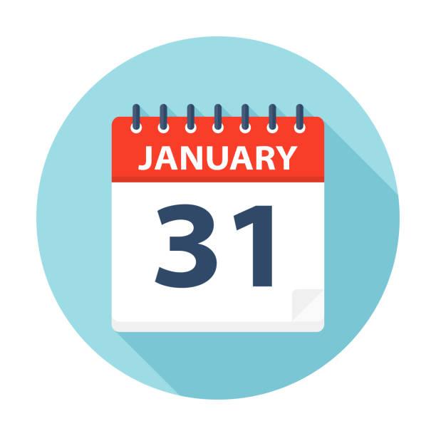 January 31 - Calendar Icon January 31 - Calendar Icon - Vector Illustration january stock illustrations